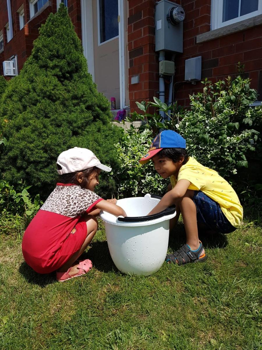 Creative play in the yard.