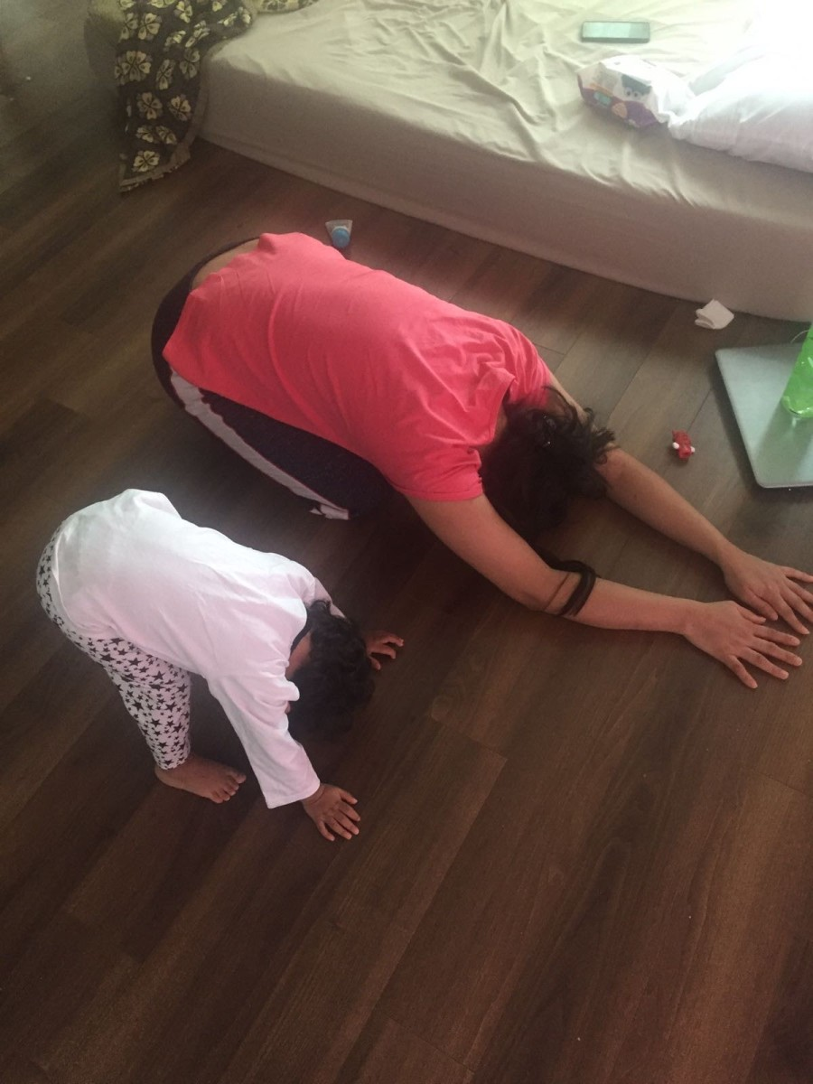 Yoga and meditation provide good exercise and family fun.