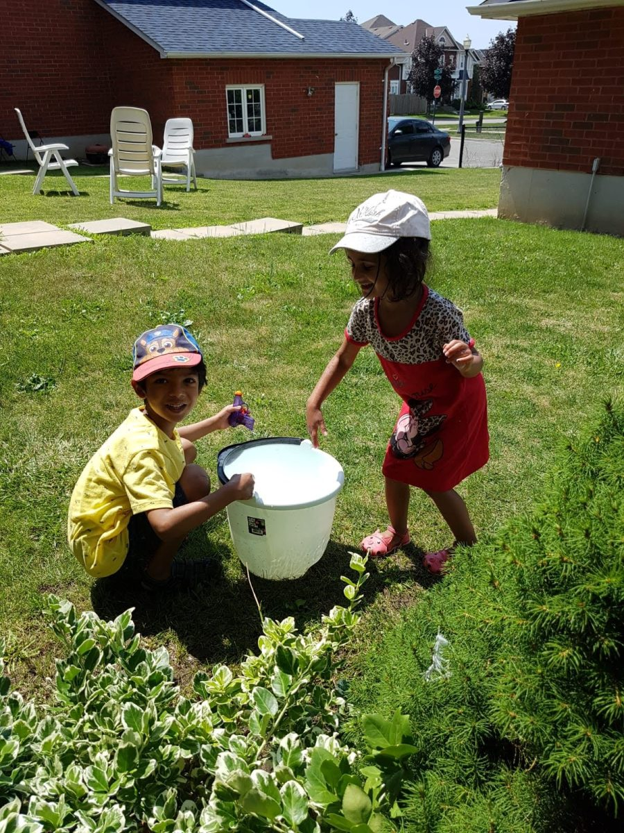 More creative play in the yard.