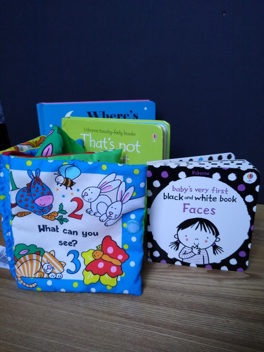 A selection of baby books.