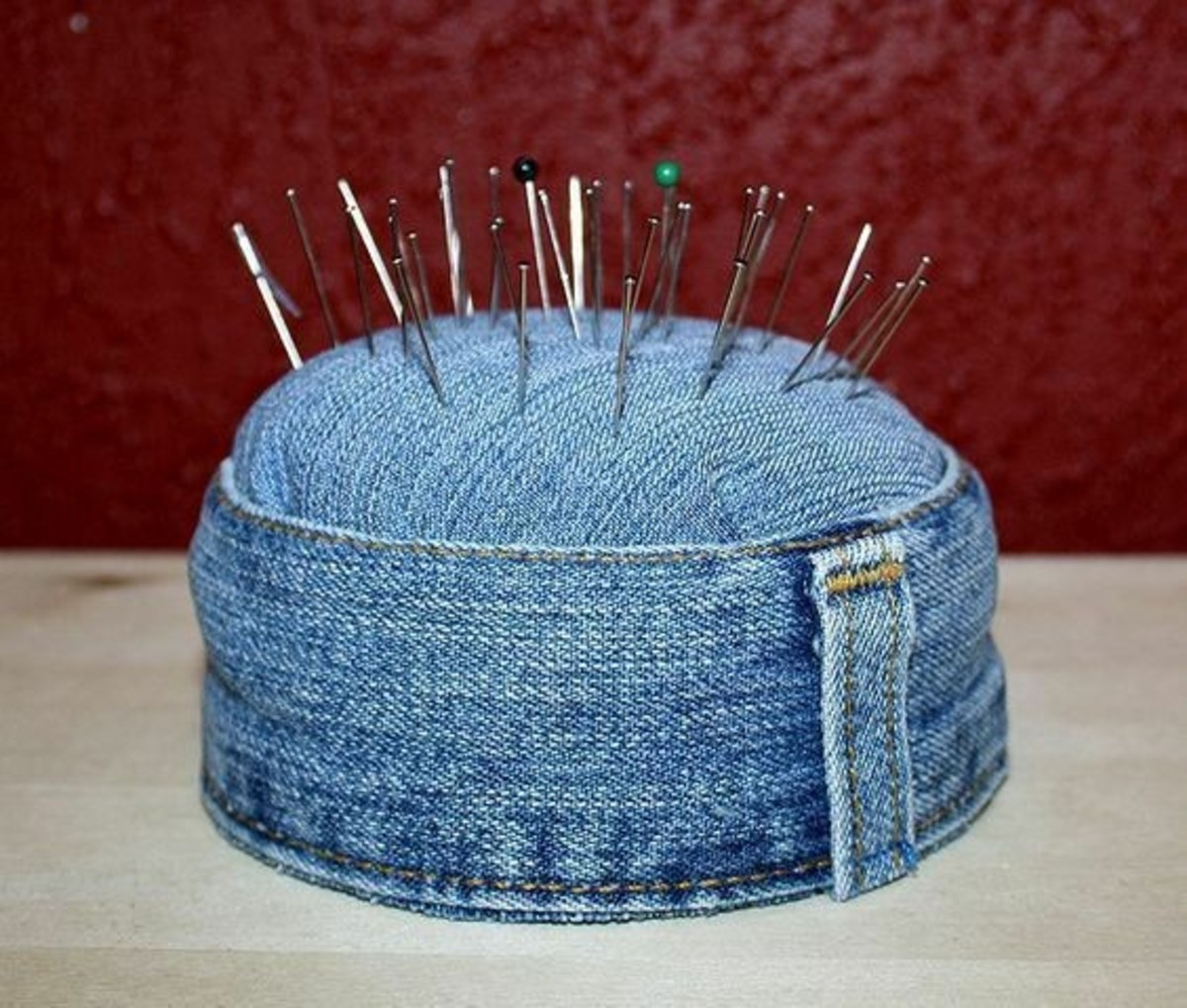 Items for the home: This is a very serviceable pin cushion, made from repurposed jeans. When stuffed with steel wool, it should offer decades of use, and keep pins honed.