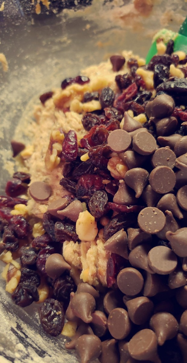 Add in the fruit, nuts, and chocolate chips.