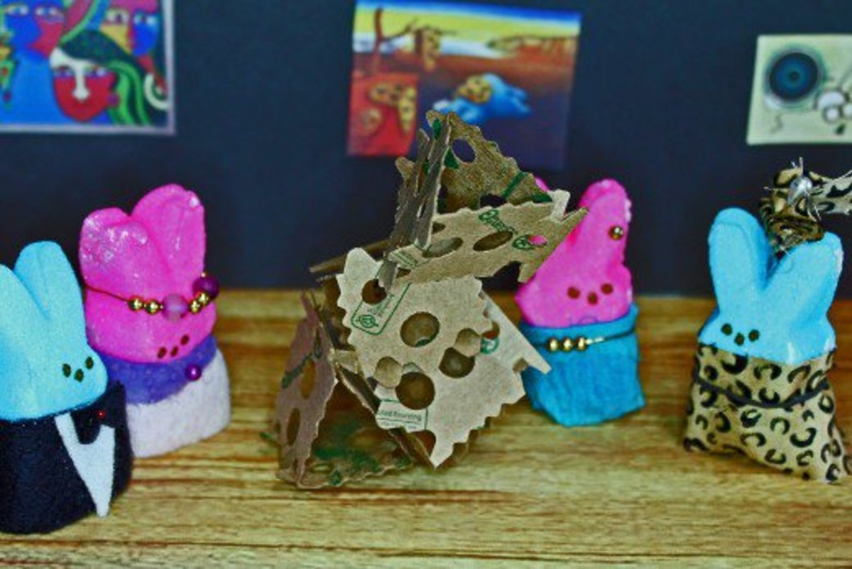 "Children can make a diorama using figurines and other items they find around the house. This is a ""Peeps at the Art Museum"" diorama my family made several years ago."