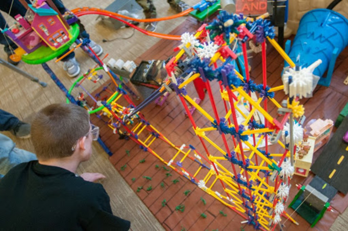 Children can put engineering principles to work by making a Rube Goldberg machine.