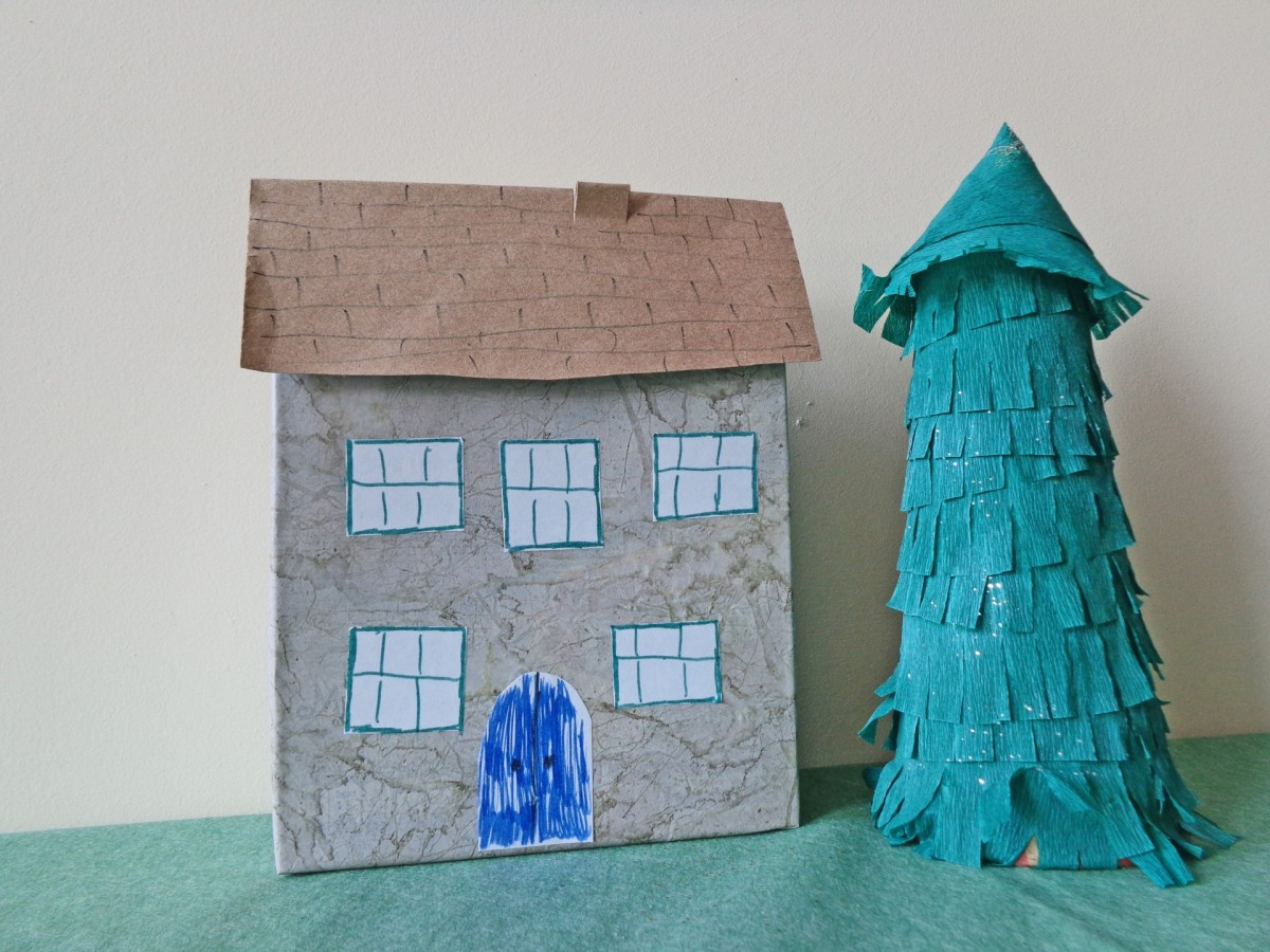 Children can design a doll house from a cardboard box. They can make furnishings inside from all kinds of household items.