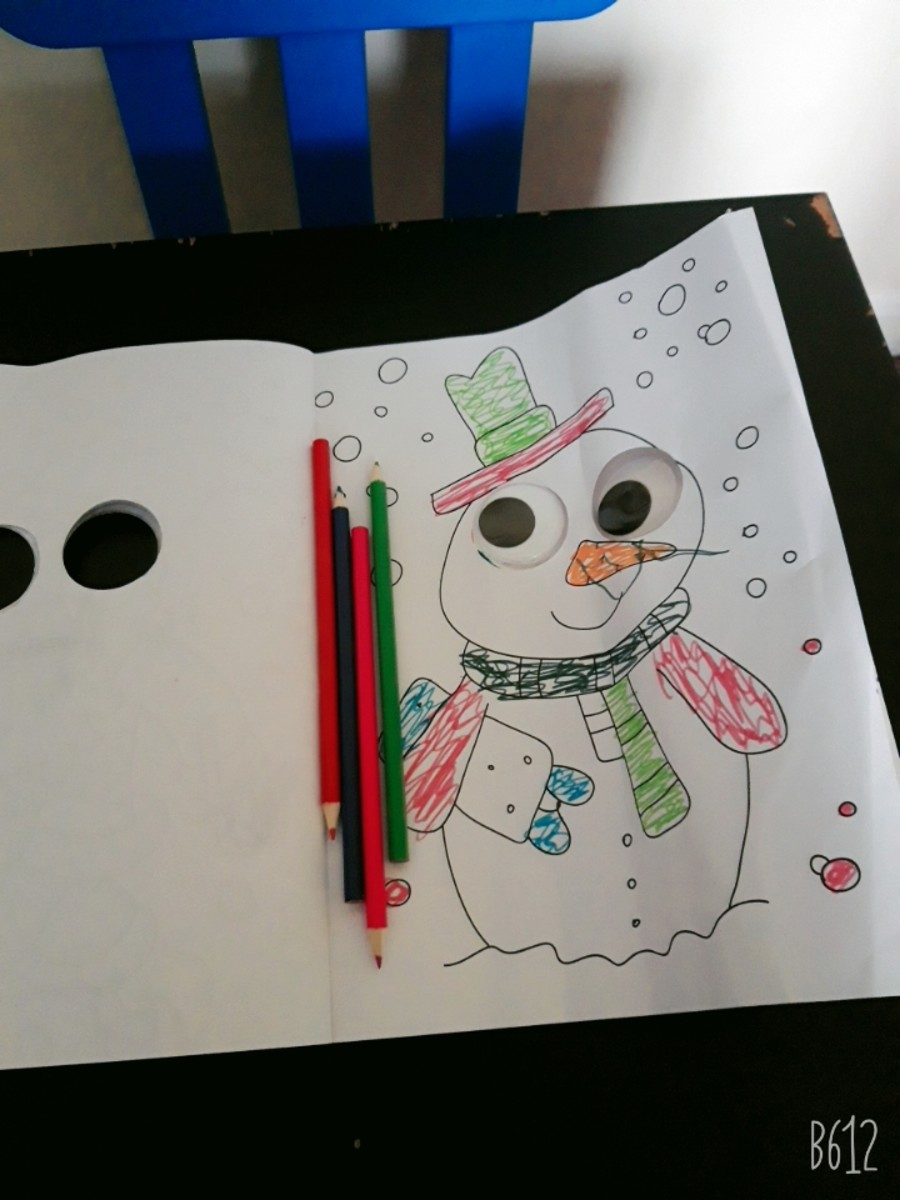 Colouring is always a great activity. This book has a snowman to colour.
