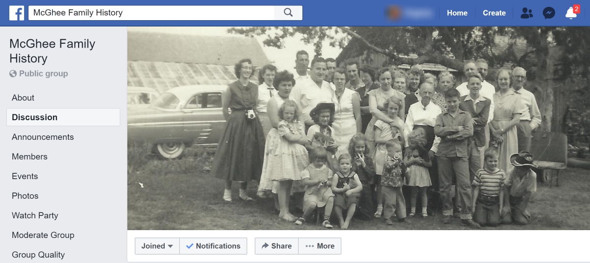 An example of a cousin group or surname group. I created this group so my first and second cousins could share photos, stories, and family history. My various cousin groups have between 35 to 150 members, depending on how well I recruit for it.