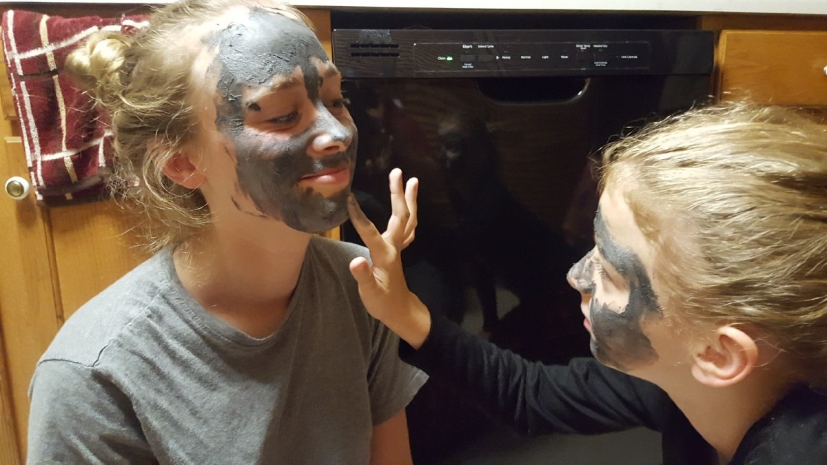 Face mask night with the only girl in the family. She often seeks female attention since she is always surrounded by boys.