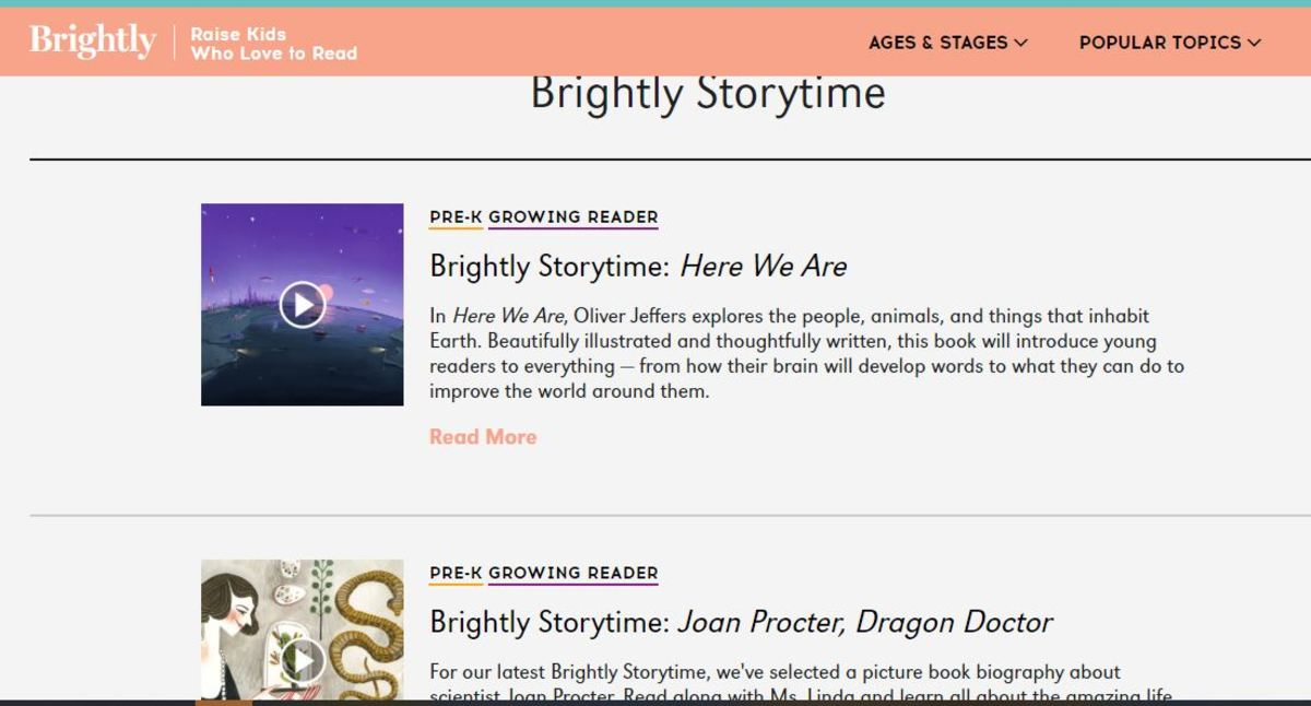 A sample screen from Brightly Read-alouds