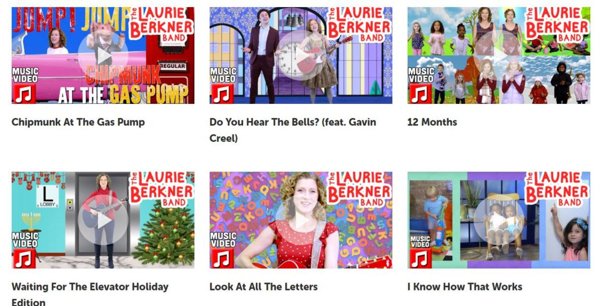 Sample screen from Laurie Berkner's children's music site