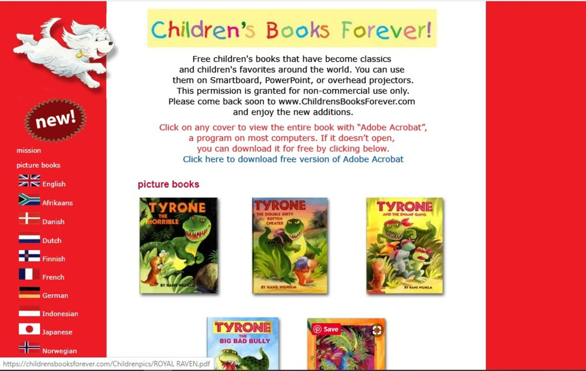 Sample screen from the site Children's Books Forever which offers 9 free titles from the author Hans Wilhelm.