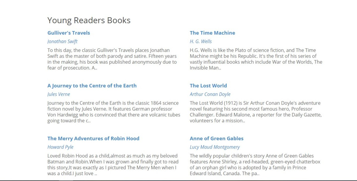 Sample screen from Classicly, a site which offers public domain books in computer-friendly formats.