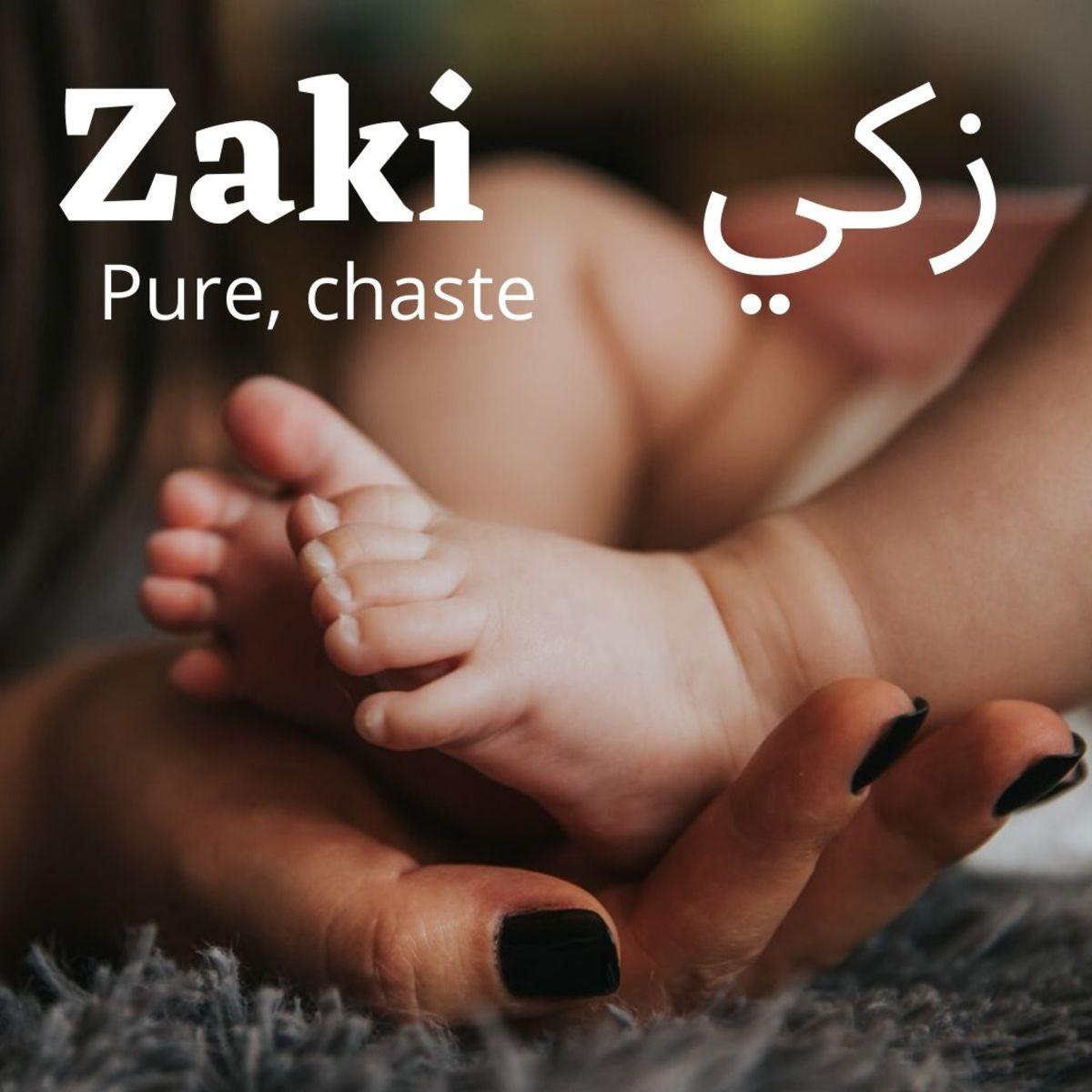 "Zaki means ""chaste""."