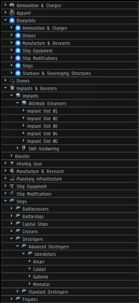 An example of some of the good available on the market in EVE Online.