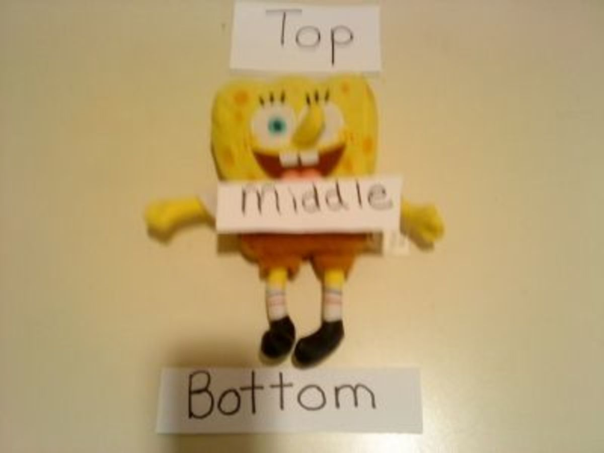 Label an object that is lying down to ensure kids know where the TOP is located.