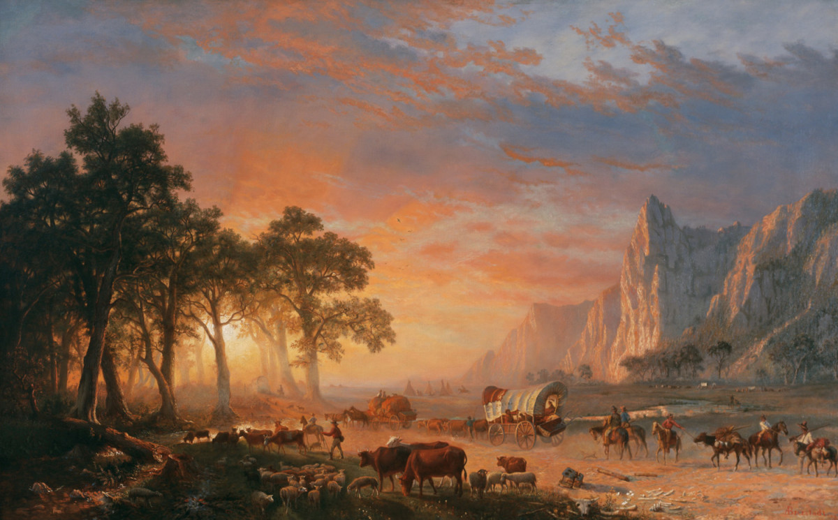 "The painting ""Emigrants Crossing the Plains"" by Albert Bierstadt. Many families moved to new places in wagon trains like the one depicted here."