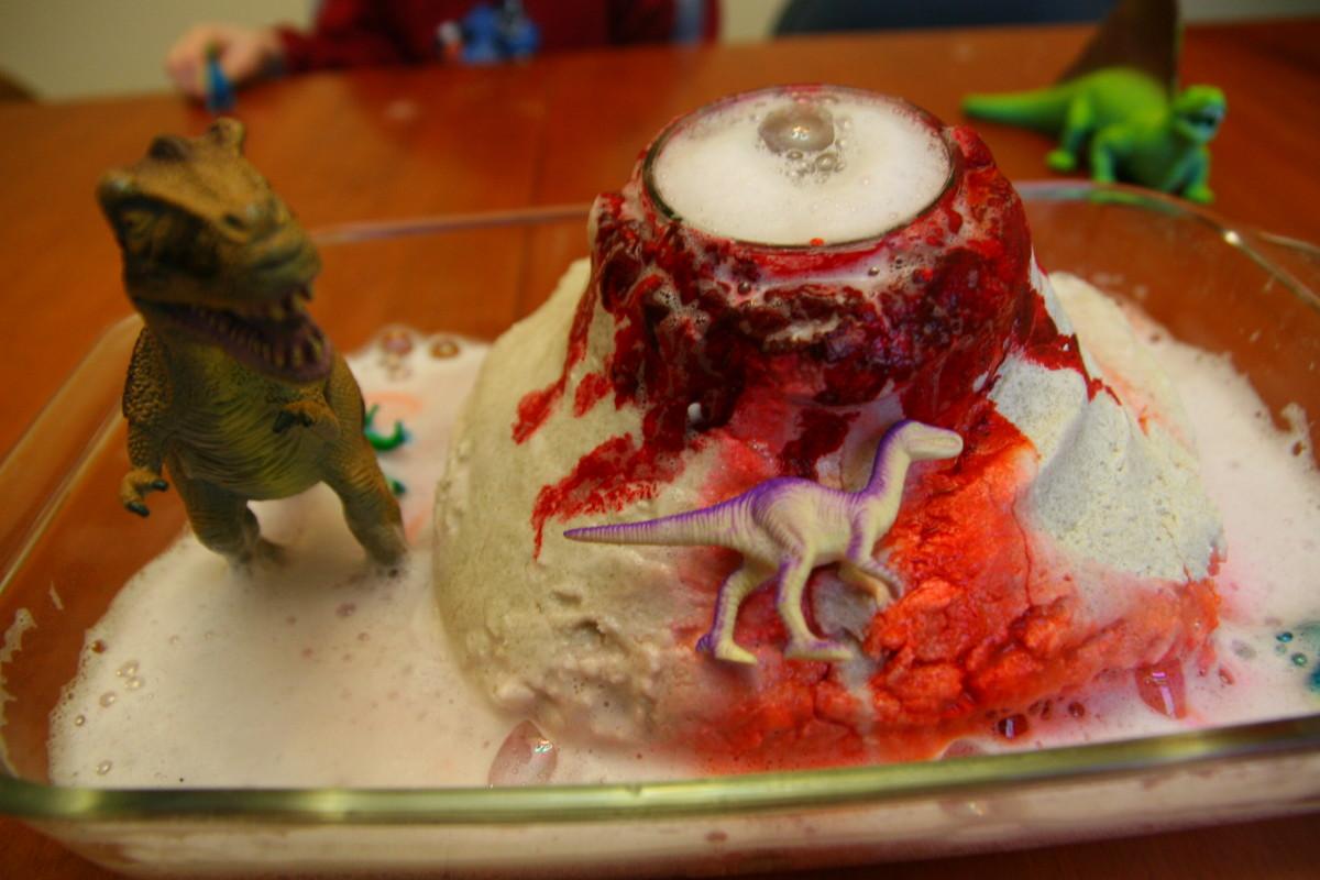 Make small volcanoes that really erupt using playdough or salt dough, baking soda, and vinegar!