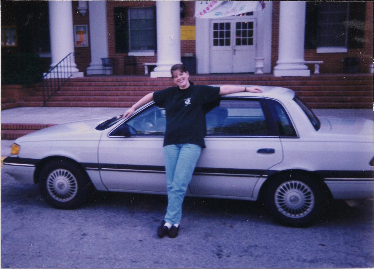 My spirit guide took up residence in my first car, shown here.
