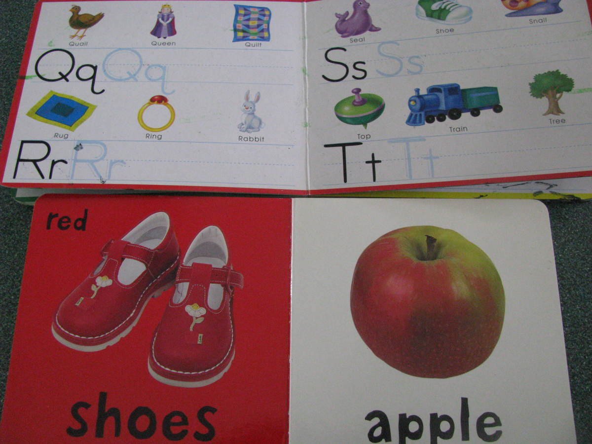 Have books for learning colors, numbers, letters, and shapes.