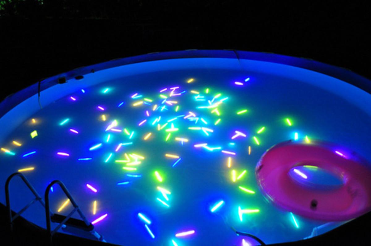glow sticks in a swimming pool!