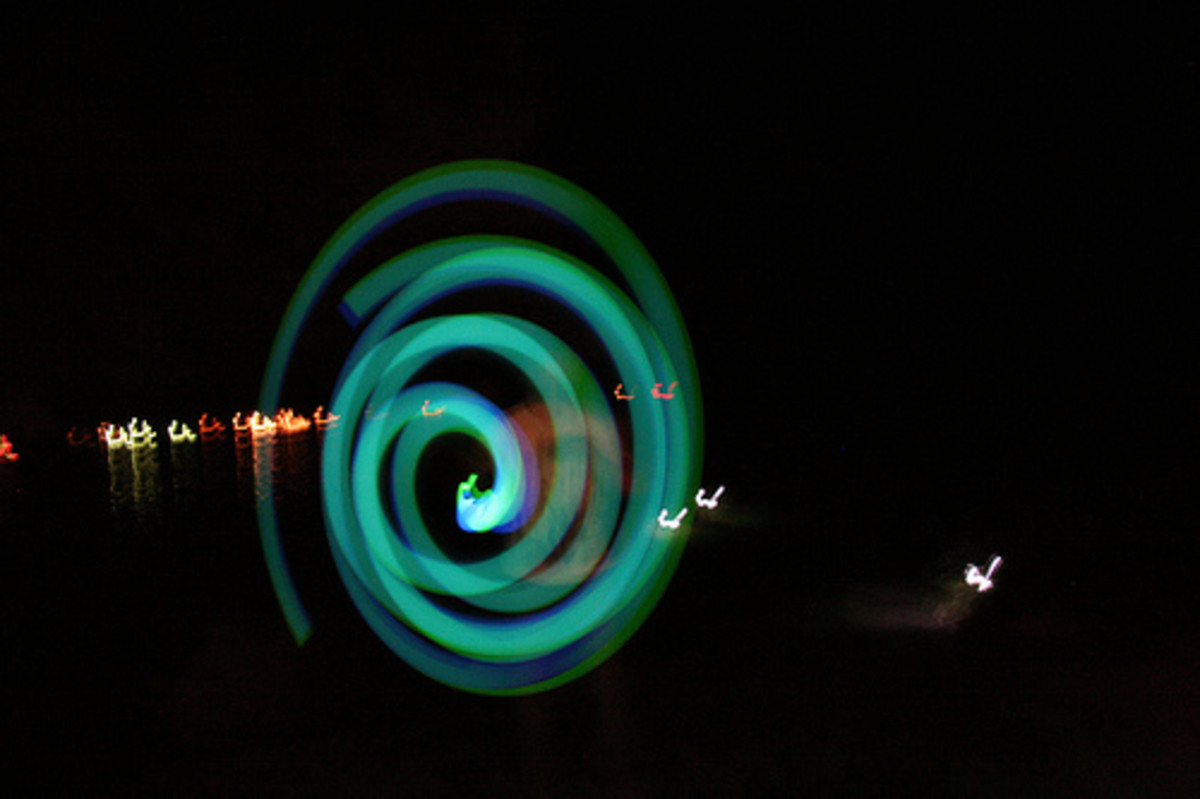 glow sticks making a spiral in a photo