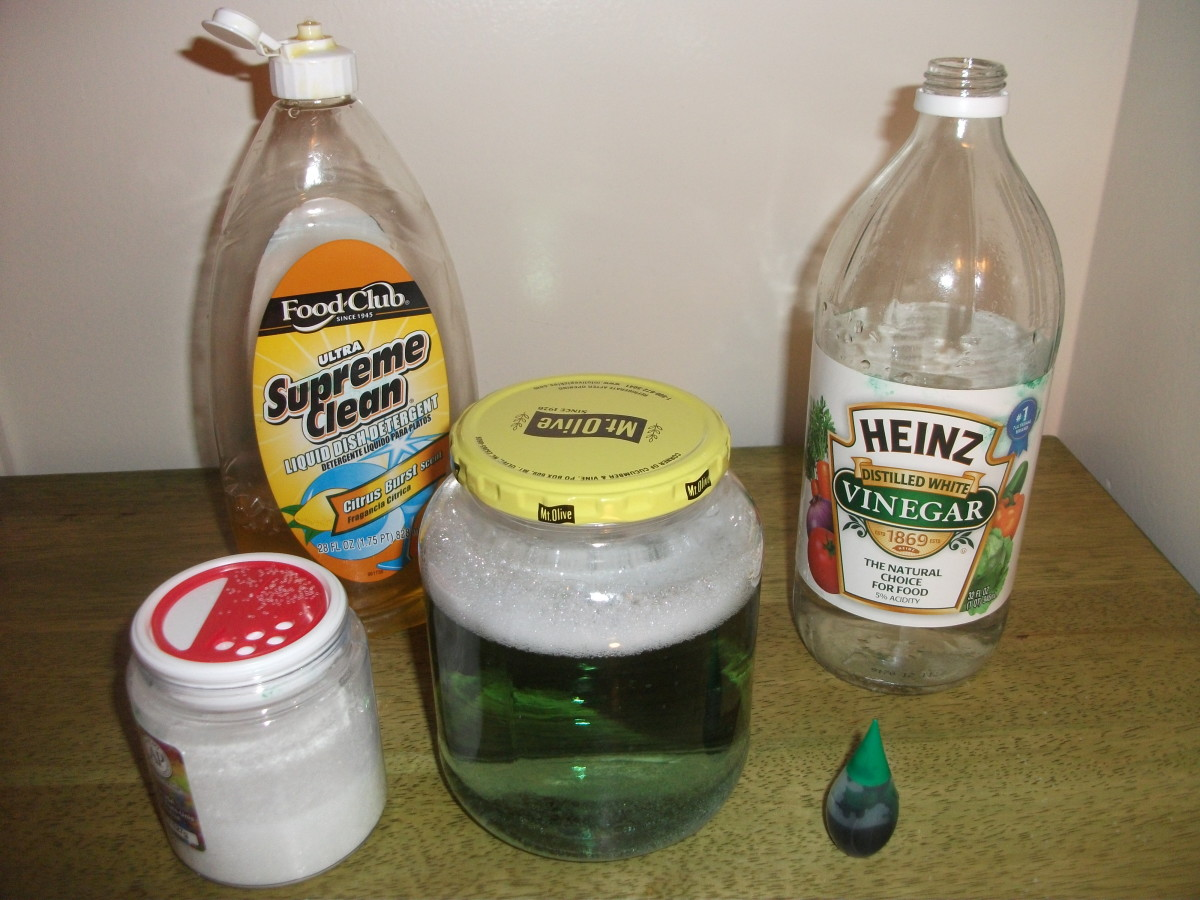 The materials to make a tornado in a jar.