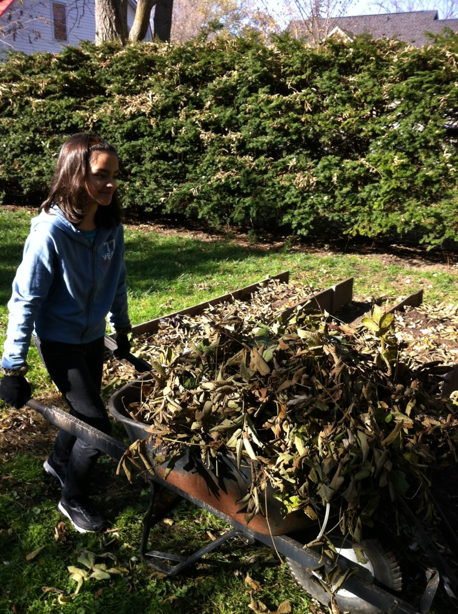 Yard work can be fun when you know you get to jump in the pile of leaves you're creating!