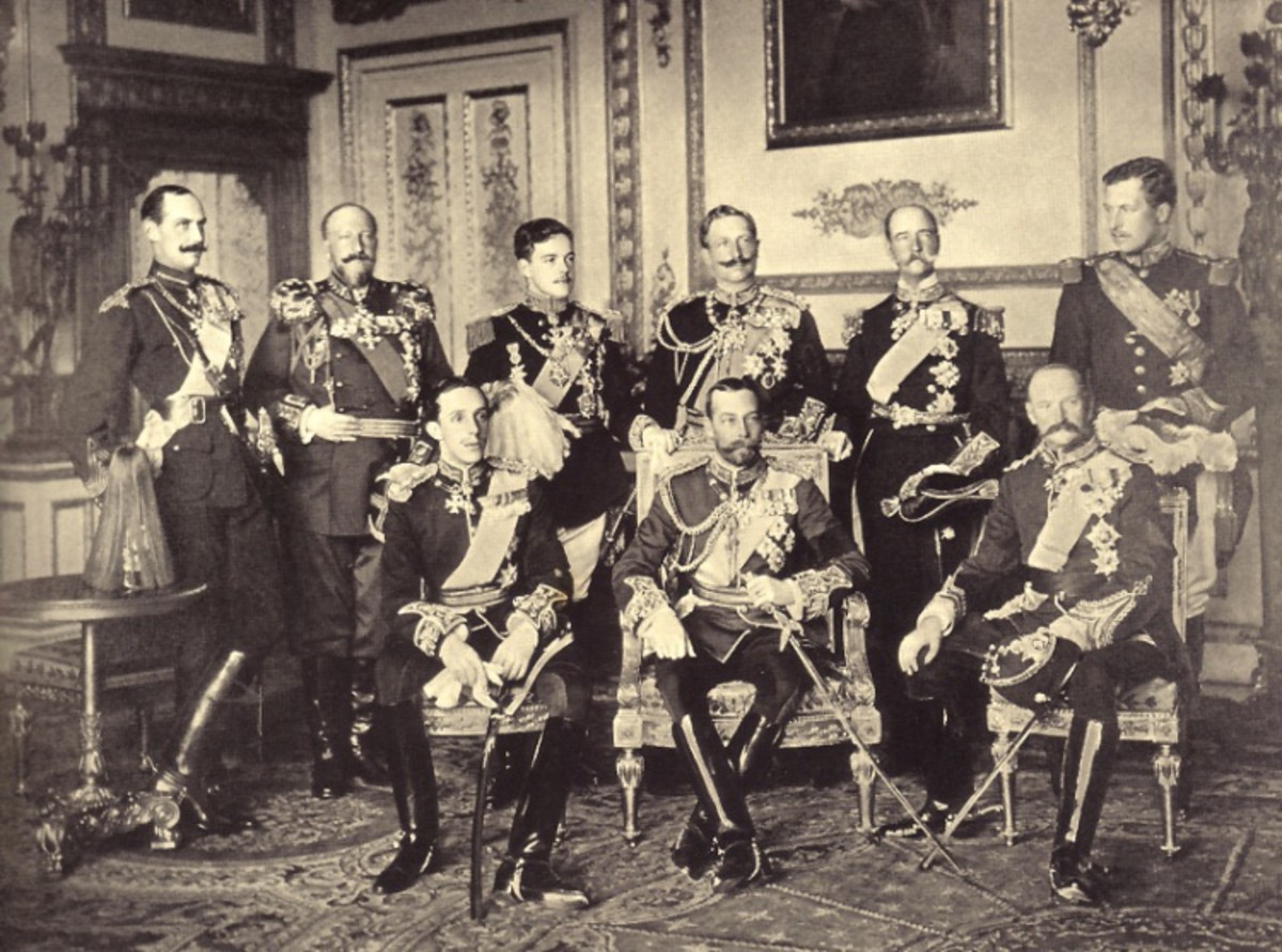 Nine European sovereigns in 1910 (Edward VII's funeral):  Haakon, Ferdinand, Manuel, Wilhelm, George, Albert, Alfonso, another George and a Frederick.
