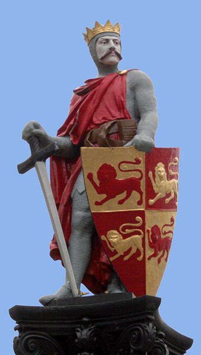 A Victorian statue of Llewelyn the Great, Prince of Gwynedd.
