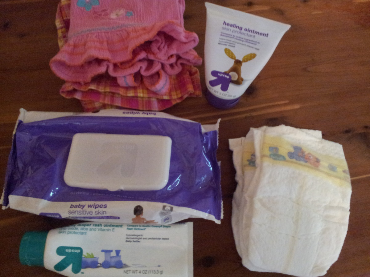 Have extra diapers, wipes, diaper rash cream, and clothes nearby when changing a diaper!
