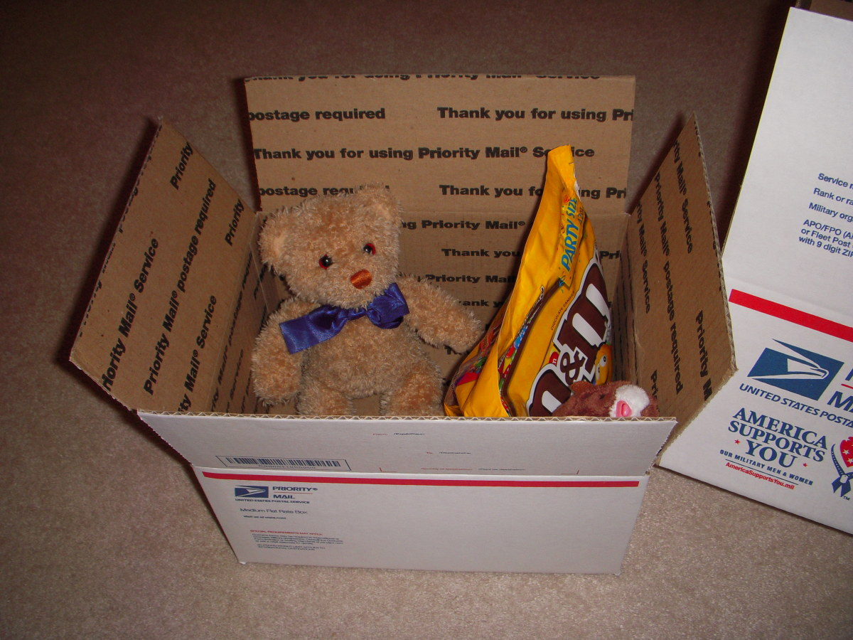 Stuffed friends from home, particularly when accompanied by candy, make a nice care package.