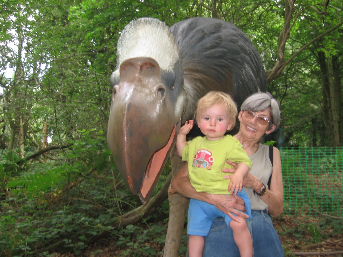 Grandma and a dinosaur