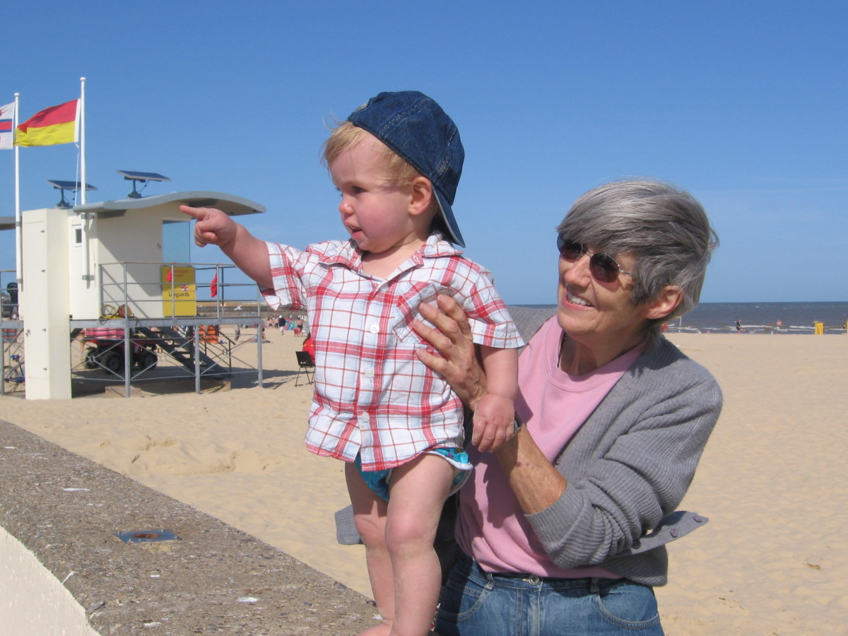 On the beach with grandma - just as it was for me, my children spend regular time with their grandma