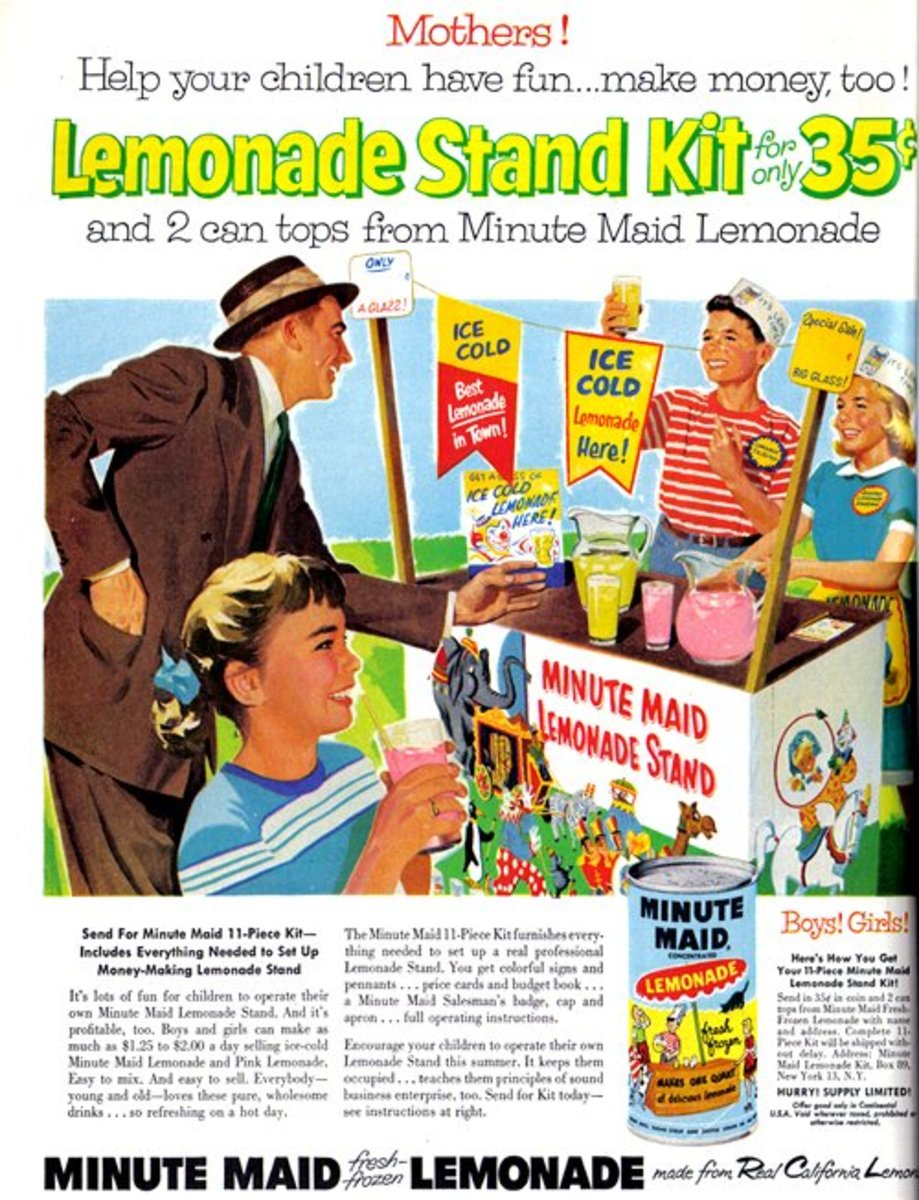 Check out this vintage ad for a lemonade stand. These days, kids are a lot less likely to try to earn money from the world around them through different odd jobs. Our kids can change that and become the new age child entrepreneurs!