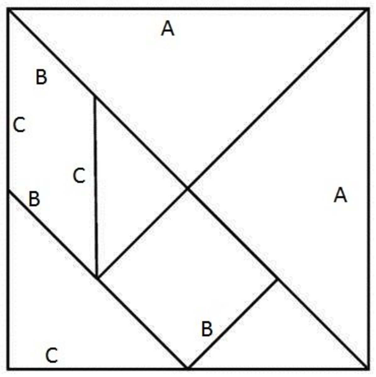 Use this template to make your own tangram game. Be sure to measure carefully! If you can't draw it out, this is a printable tangram template.