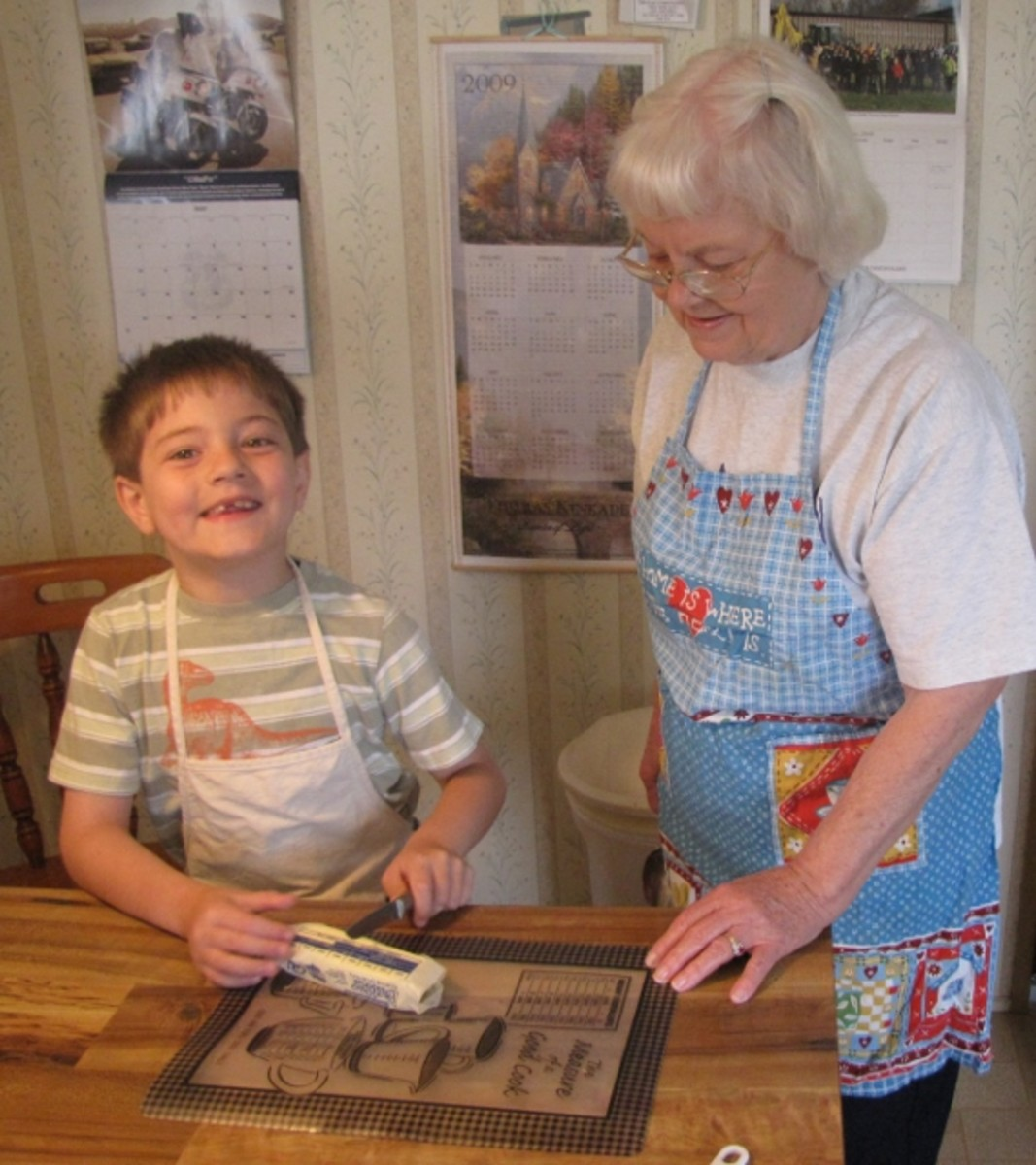 Learning to cook with grea-grandma is part of my homeschool fun.