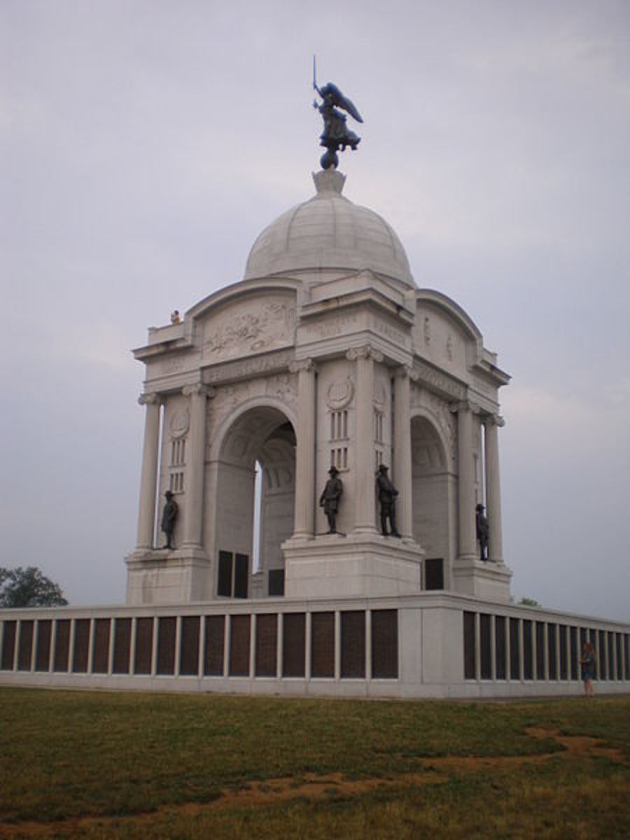 The Pennsylvania Monument is the largest monument at Gettysburg.
