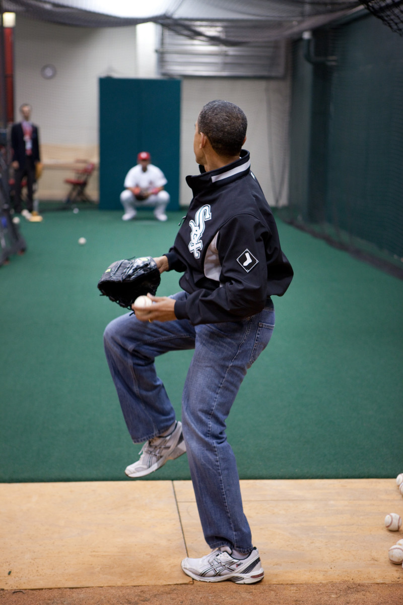 Obama rocks his mom jeans while he practices throwing out the first pitch for the MLB All Stars Game.