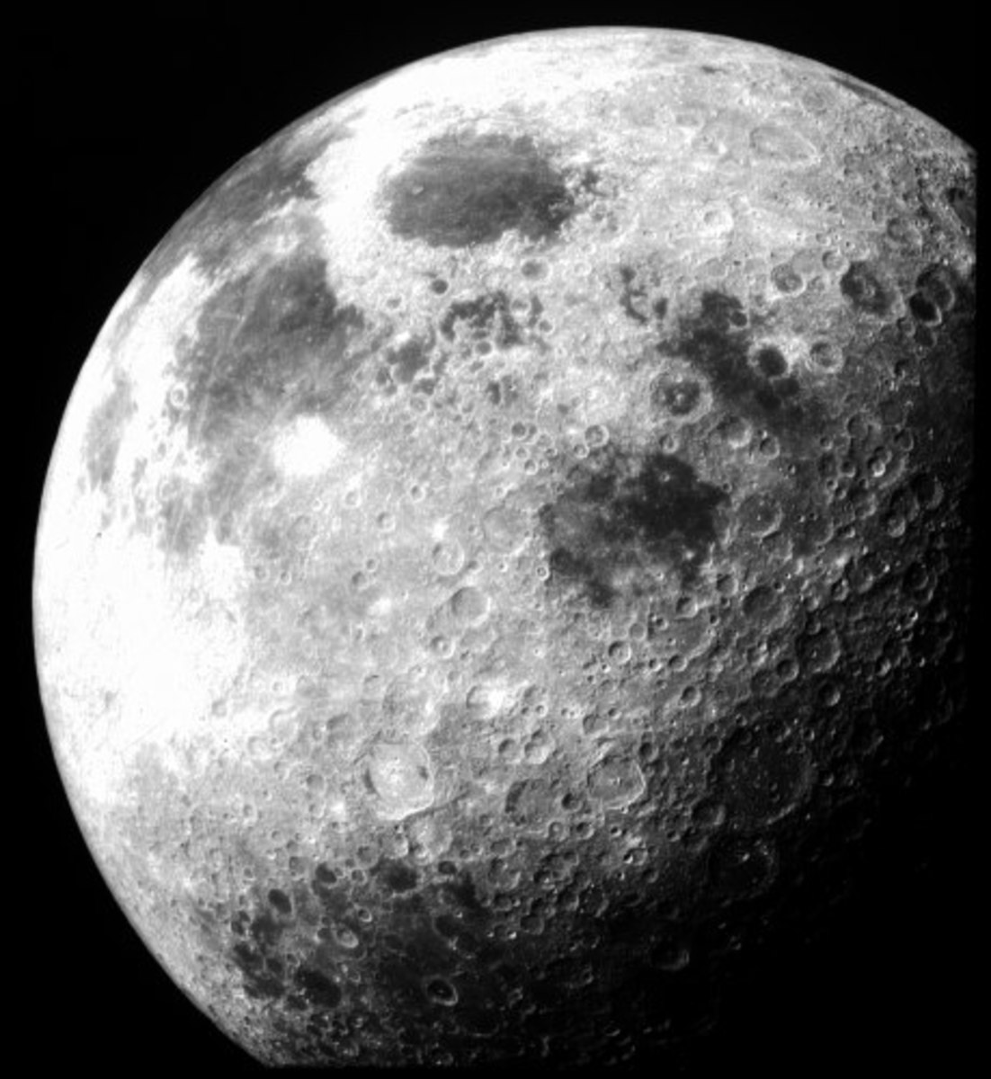 This photograph of the Moon was taken by Apollo 12 while in orbit.
