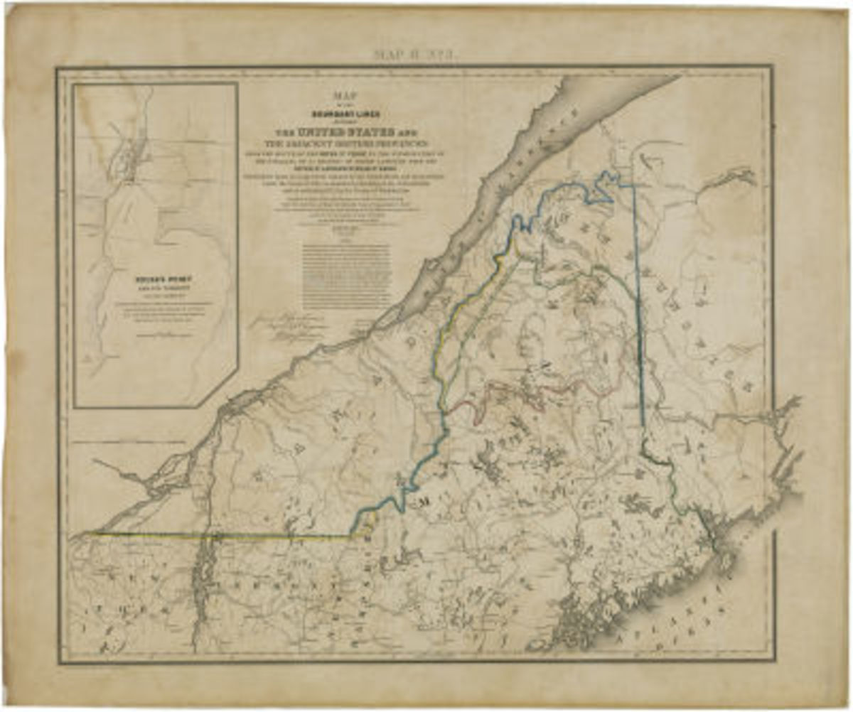 """General Map of the Disputed Area Showing British and United States Boundary Claims and the Line Agreed on by the Treaty of 1842"". It took fifty years (after the Treaty of Paris) for this final line of demarcation to be drawn."