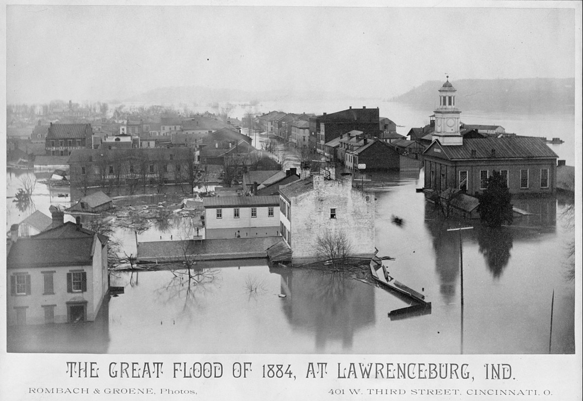 The Great Flood of 1884, at Lawrenceburg, Indiana. Note the flooding of the city hall, which may very well have resulted in a loss of records.