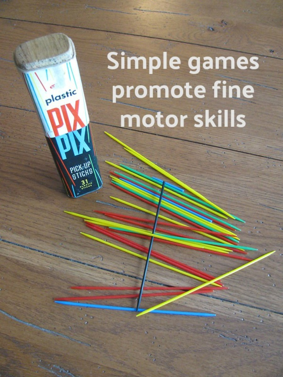 Pick up sticks is a terrific game to enhance the pincer grasp so preschoolers will be ready to hold a pencil correctly when entering kindergarten.