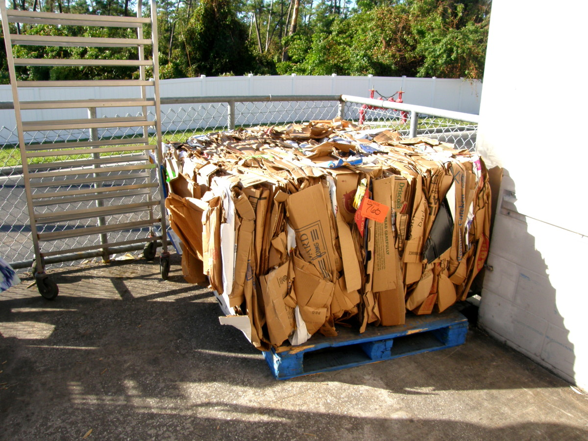 A bale of cardboard packaged and ready to be picked up for recycling