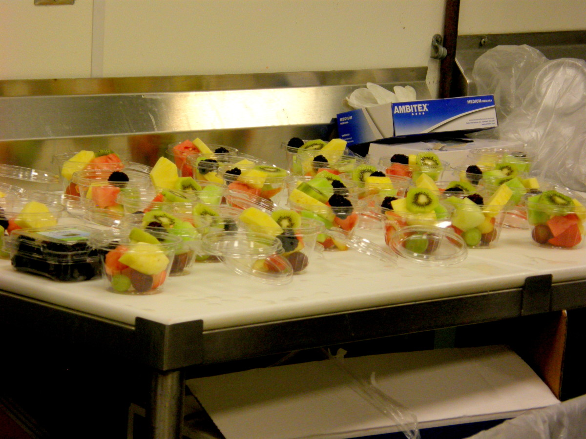 Beautiful fruit cups prepared for field trip attendees