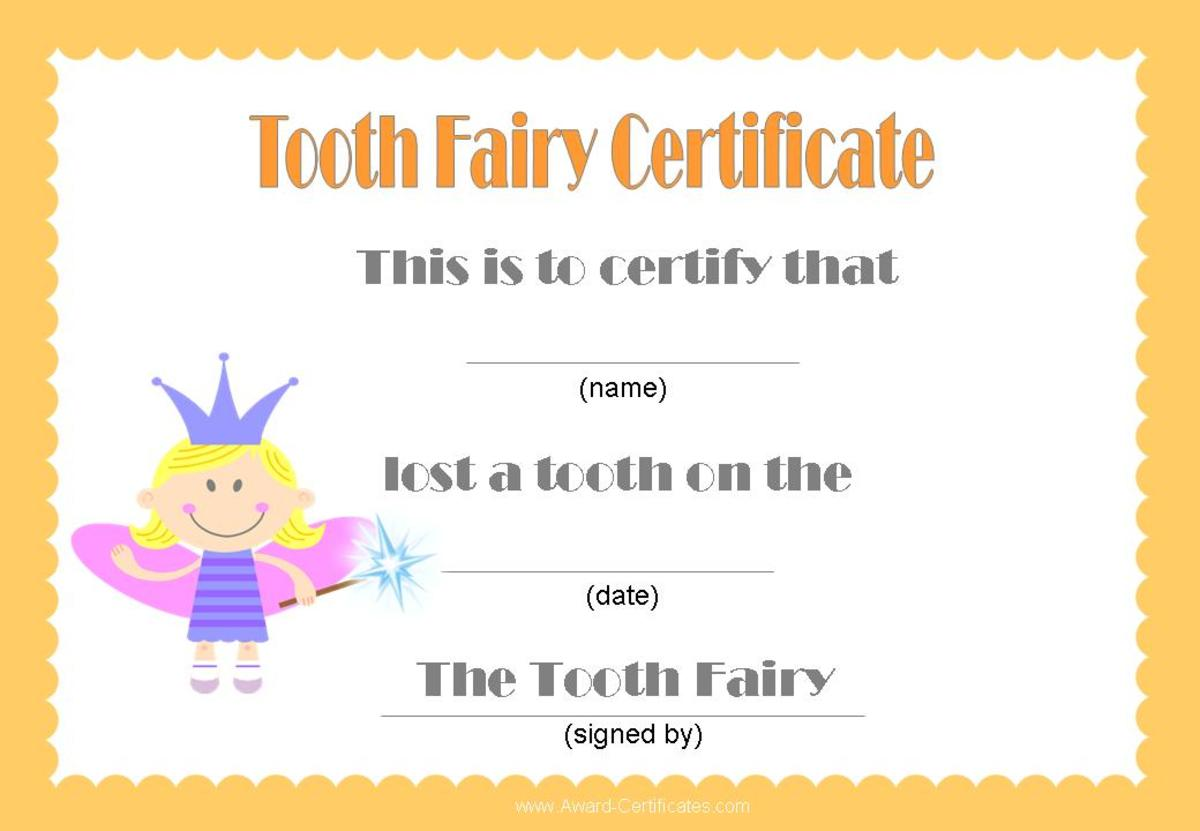 a certificate from the Tooth Fairy - A new aspect to the ritual. Originally posted on picphotos.net