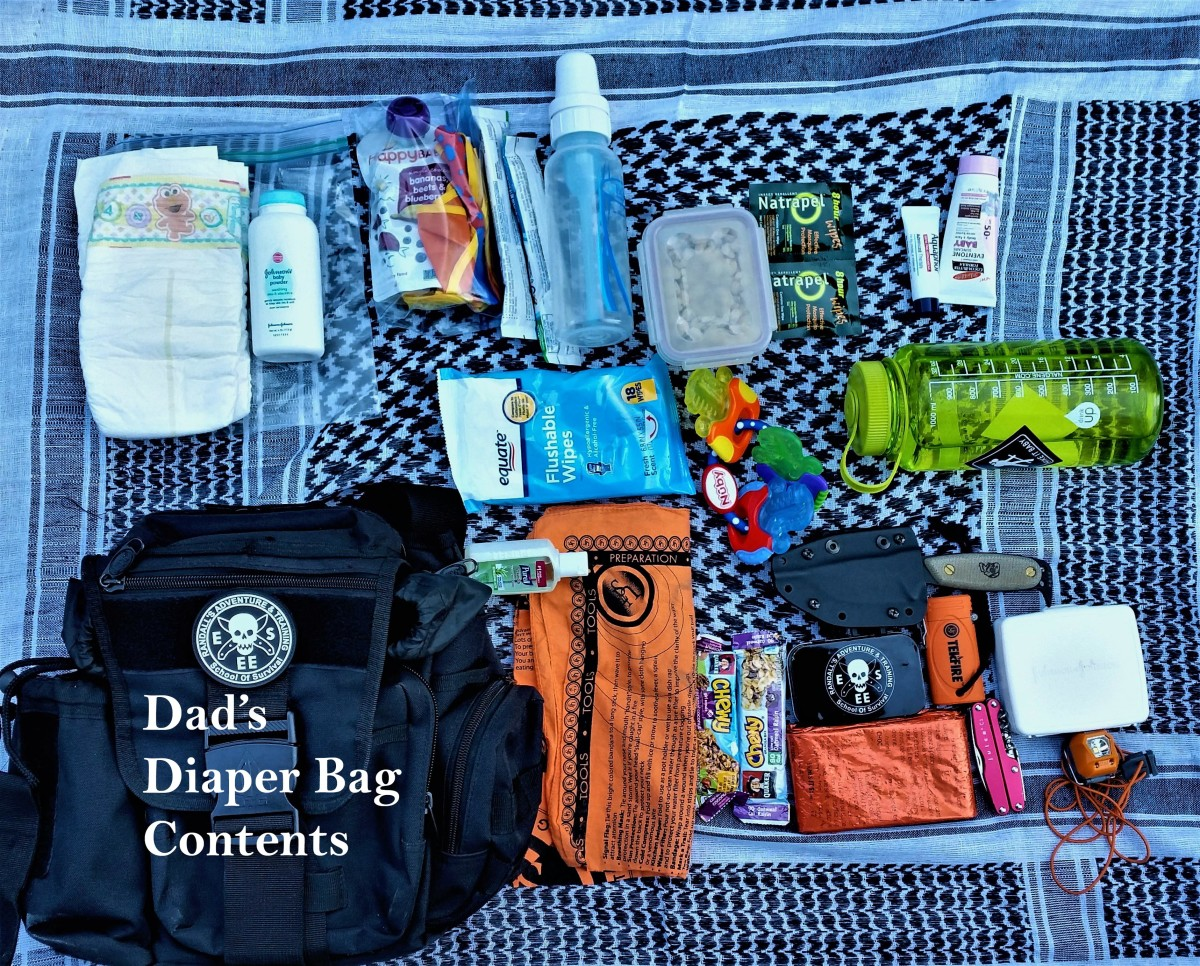 Dad's diaper bag contents.