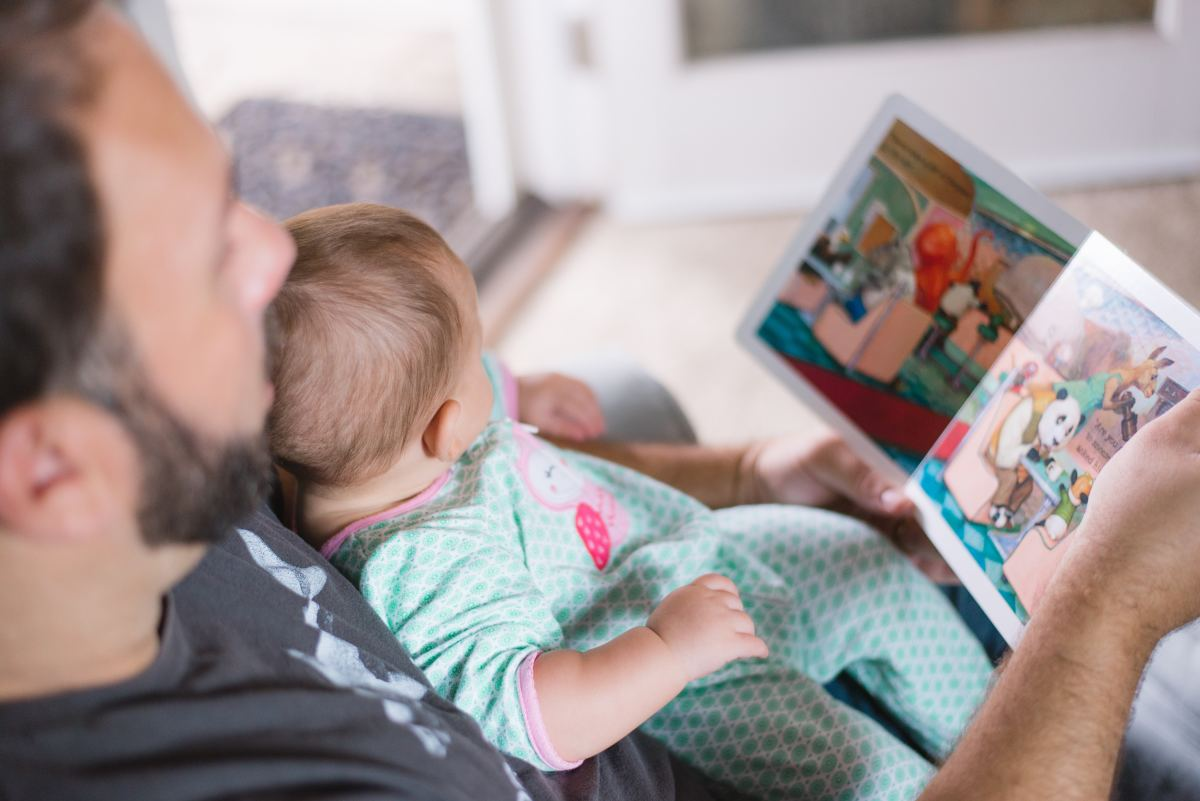 Reading with your baby before they fall asleep will help them to associate story time with sleepy time.
