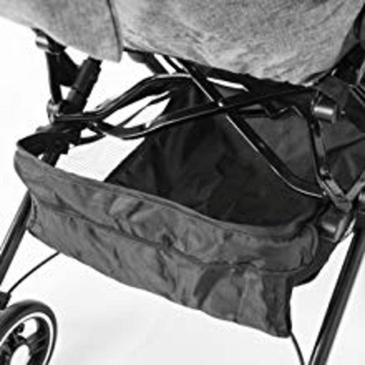 The basket at the bottom of this mini stroller is extremely good for additional storage. I use it for baby diapers and the occasional grocery bag.
