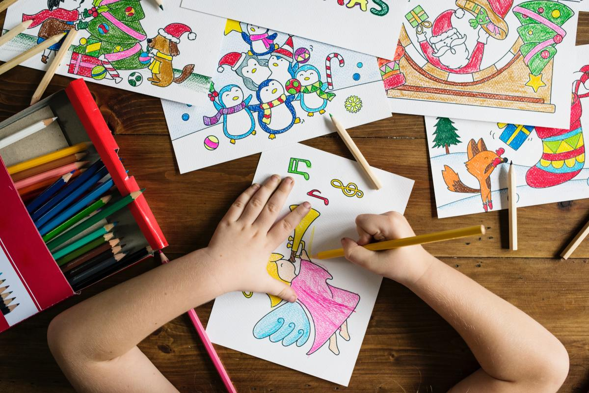 Art is another great way to help children calm down and enjoy time indoors.