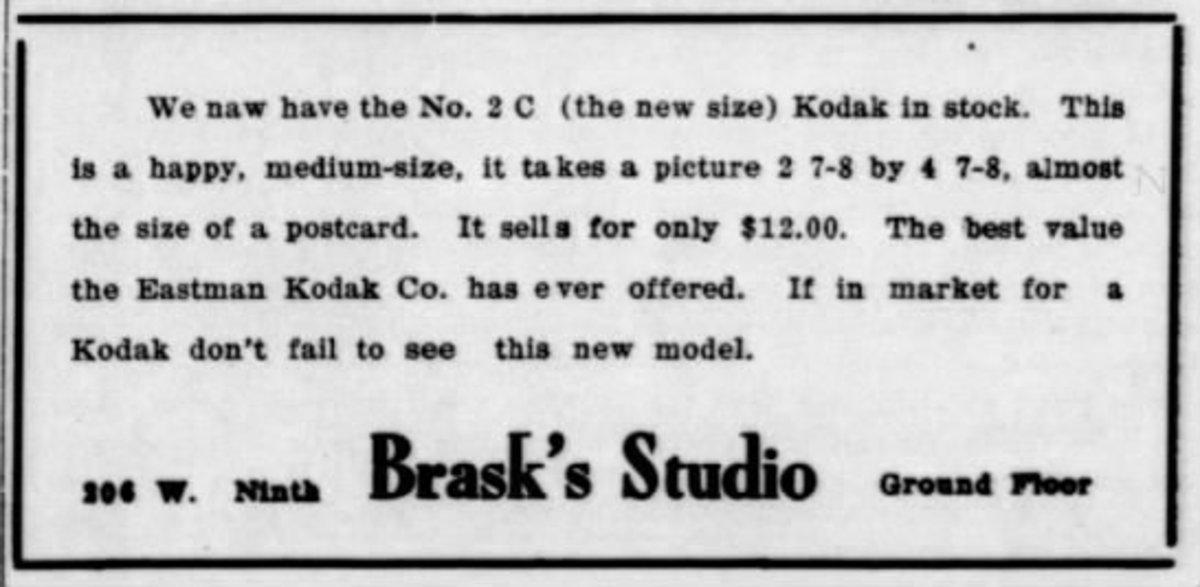 The ad features their new Kodak camera to make postcard sized photos.  Southwestern Collegian  (Winfield, Kansas) 07 Nov 1916, Tue  • Page 2